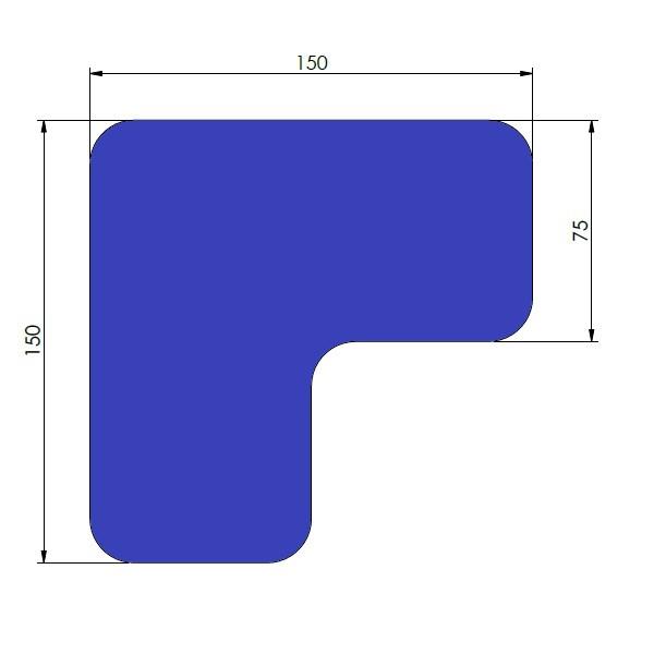 supreme v 90 afgeronde hoek blauw 15cm x 15cm x 75cm aantalset40st