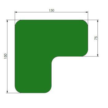 Supreme v, 90° afgeronde hoek, groen, 15cm x 15cm x 7,5cm, ve=40st.