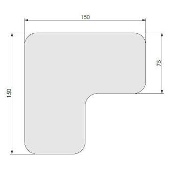 Supreme v, 90° afgeronde hoek, wit, 15cm x 15cm x 7,5cm, ve=50st.