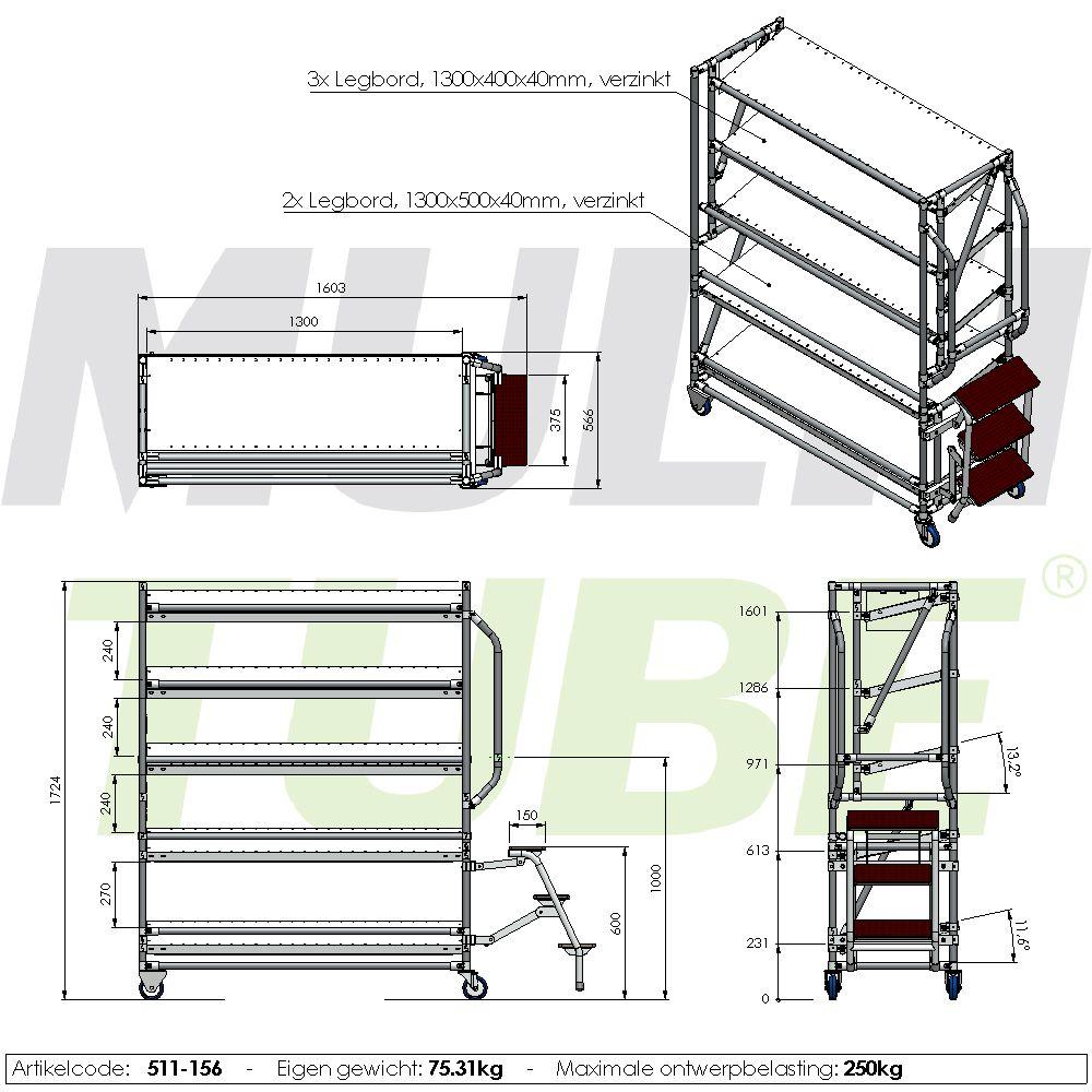 orderpickkar 1300 5 etages trap