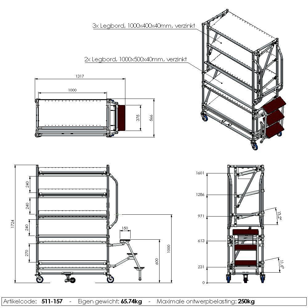 orderpickkar easy 1000 5 etages trap