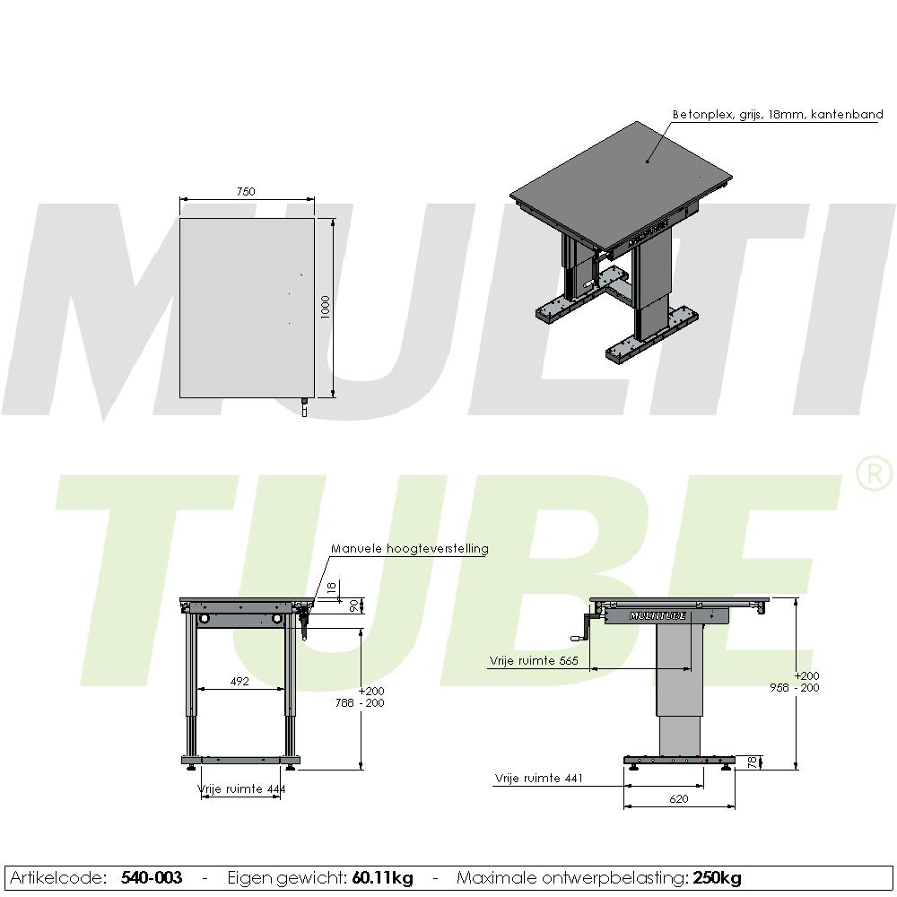 werktafel in hoogte verstelbaar manueel 750x1000mm