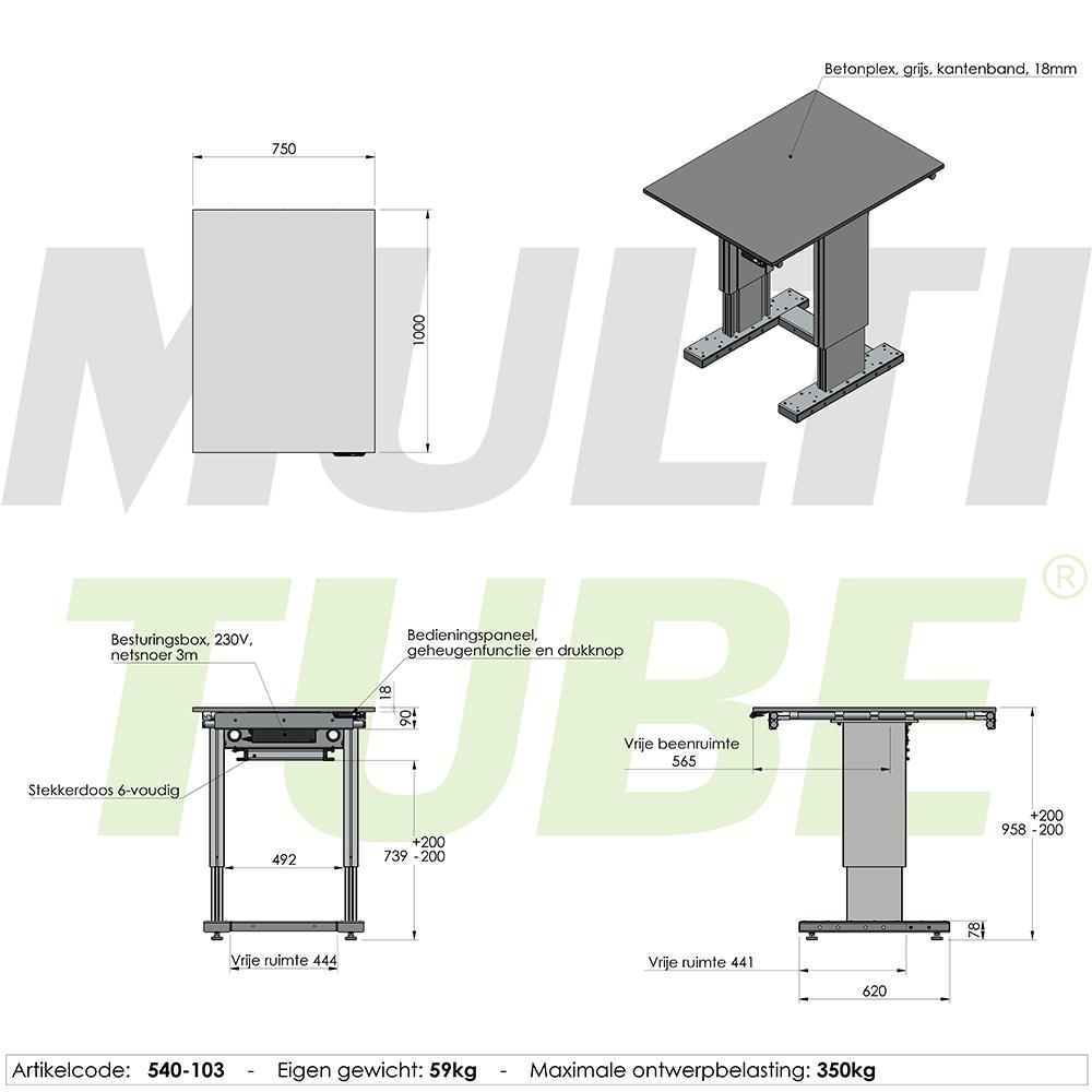 werktafel in hoogte verstelbaar elektrisch 750x1000mm