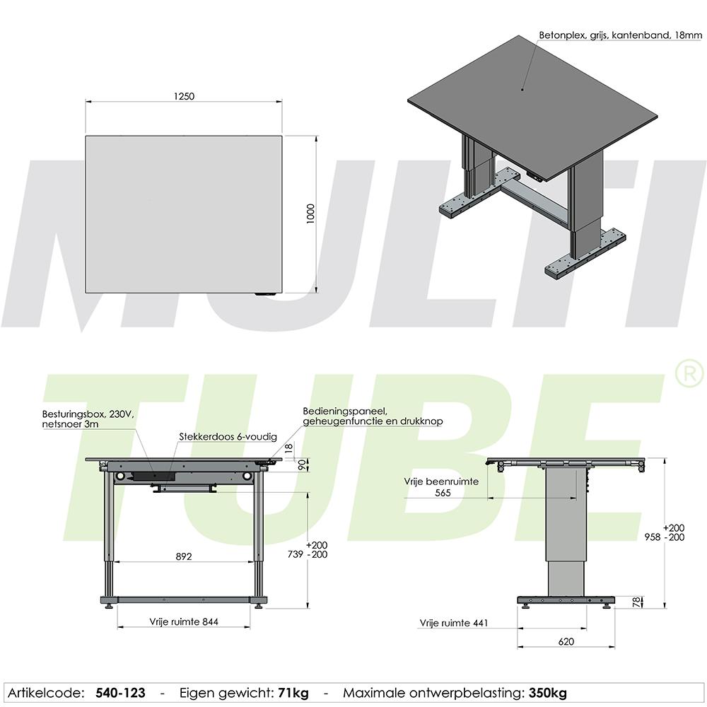 werktafel in hoogte verstelbaar elektrisch 1250x1000mm