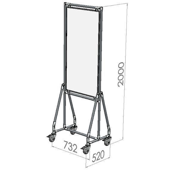 verrijdbaar whiteboard 60x120 cm