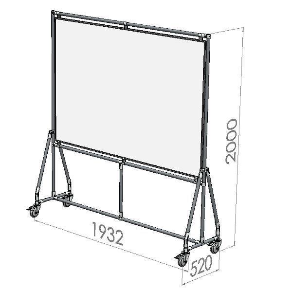 verrijdbaar whiteboard 180x120 cm