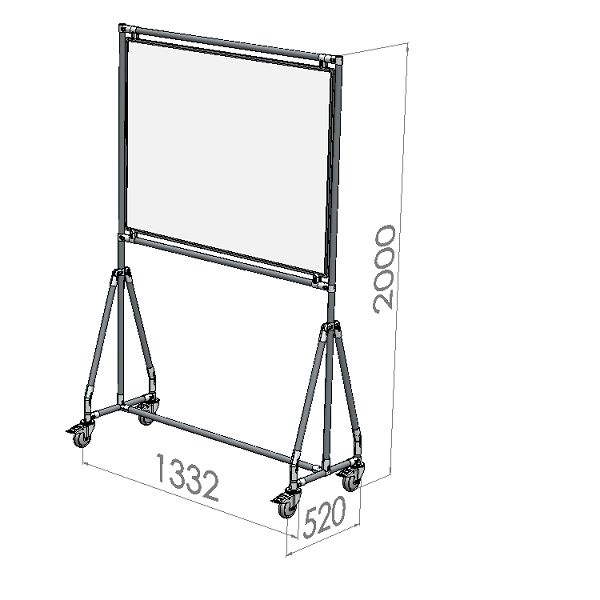 verrijdbaar whiteboard 120x90 cm