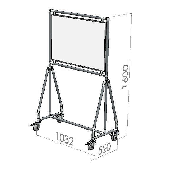 verrijdbaar whiteboard 90x60 cm