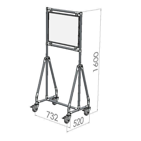 verrijdbaar whiteboard 60x45 cm