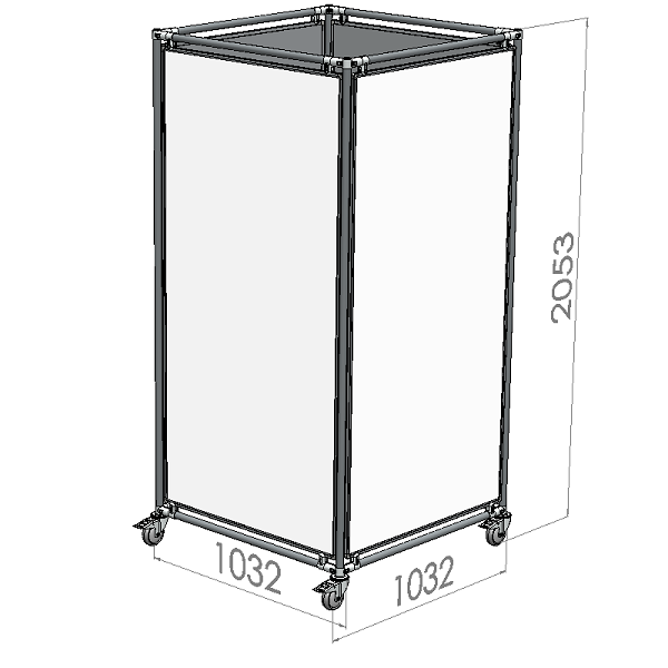 verrijdbare whiteboard kolom 90x180 cm